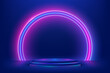 Abstract 3D dark blue cylinder pedestal podium with glowing semicircle neon backdrop. Technology futuristic scene. Sci-fi platform concept. Modern vector rendering for product display presentation
