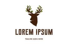 Deer Antler Horn Tree Leaf Leaves Logo Design Vector