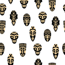 Tribal Masks Seamless Vector Pattern. African Ethnic Masks. Hand Drawn Elements. Colorful Illustration.