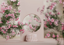 3D Background Pink Cloth Podium Display. Nature Rose Flower Blossom. Feminine Summer And Spring Pastel Pedestal Showcase Frame For Beauty Product, Cosmetic Promotion. Abstract Garden Mockup 3D Render