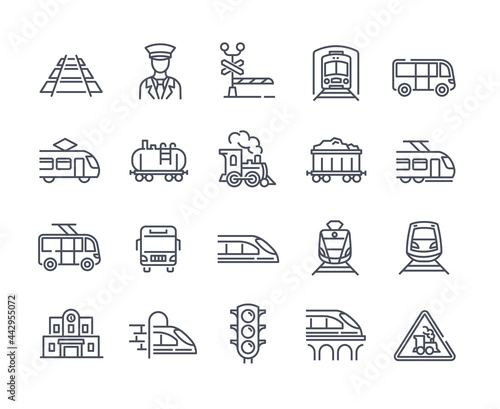 Obraz na plátně Large set of 25 transport icons with trains and trams
