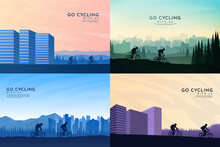 Vector Illustration. Travel Concept Of Discovering, Exploring And Observing Nature. Cycling. Adventure Tourism. Flat Graphic Polygonal Landscape. Minimalist Design For Web Banner, Website Template.
