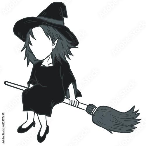 魔女 魔法 箒 帽子 ハロウィン witch hat  magic Broom ほうき マジック シルエット Fototapet