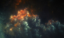 Fictional Nebula That Is Reminiscent Of An Erupting Volcano