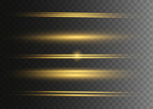 Yellow Horizontal Lens Flares Pack. Laser Beams, Horizontal Light Rays. Glowing Streaks On Dark Background.