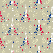 Seamless French Pattern With Eiffel Tower, Flags And Hearts. Hand Drawn Paris Decor And Twigs In National Tricolor. Vector Illustration For France, Trip And Adventure.