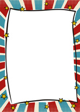 Vintage Tricolor Frame In Pop Art Style. Bright Page For Festive Photos. Template For The Design Of Frames For Party, Photographs, Posters, Cards, Stickers. Comic Vector Illustration.