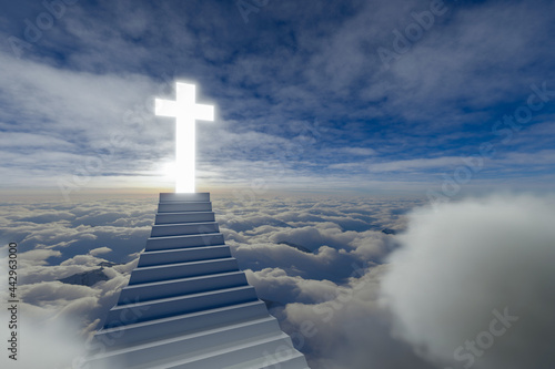 Fototapeta Stairway Leading Up To Heavenly Sky Toward The Cross of Light