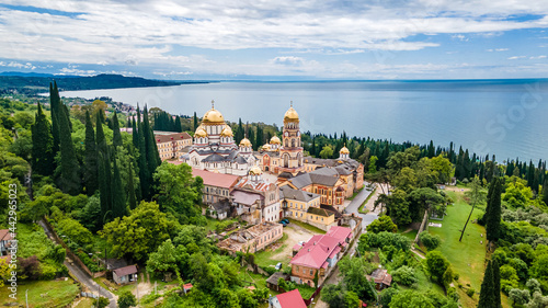 Fotografie, Obraz Top view of Orthodox monastery in Novy Afon, Abkhazia