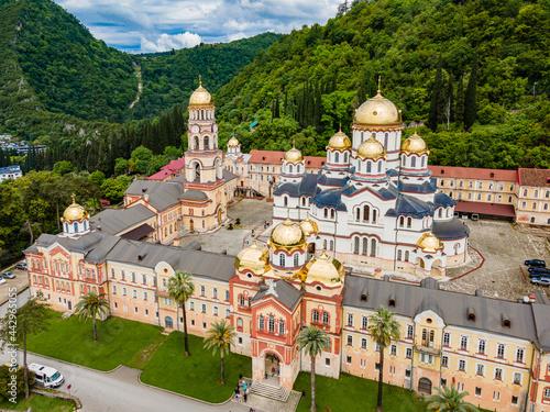 Fototapeta Top view of Orthodox monastery in Novy Afon, Abkhazia