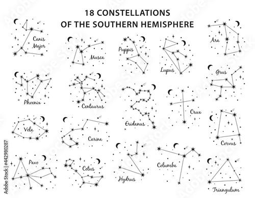 Billede på lærred 18 Constellations southern Hemisphere set includes constellations Canis Major ,