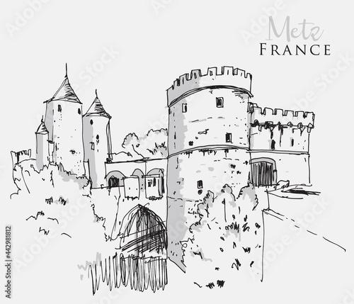 Obraz na plátně Vector hand drawn sketch illustration of Metz, France