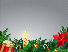 Christmas Border With Fir Branches, Sweet Cane, Candle And Stars. Christmas Card With Place For Your Text. Mistletoe Flower. Realistic Vector Illustration. Transparent Background