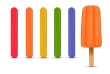 Set Of Realistic Popsicle Sticks. Orange Strawberry Ice Cream 3D. Vector Illustration, Summer Season.