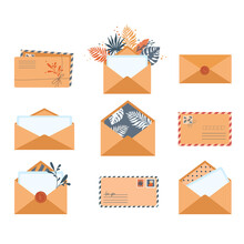 Set Of Envelopes In Different Views Isolated On A White Background. Isolated Envelopes With Stamps, Seals, Empty Sheet, Sealing Wax In Flat Style. Symbol Of Postal Message, Post Mail, Email. Icon