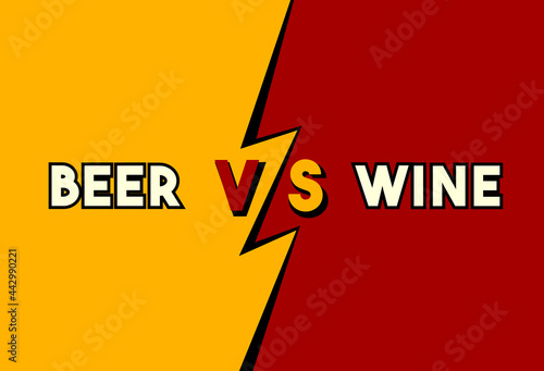 Fototapeta Versus concept, bold toon style: beer vs wine