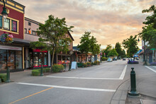 Empty Street Of A Provincial Town On A Pre-sunset Summer Evening