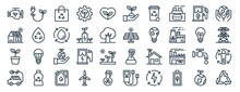 Linear Pack Of Ecology Line Line Icons. Linear Vector Icons Set Such As Plug, Plant Leaf, Solar Panel, Plant, Eco Car, Recycle. Vector Illustration.