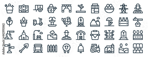 Fotografie, Obraz linear pack of in the village line icons