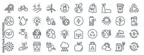 Fotografie, Obraz linear pack of eco line icons