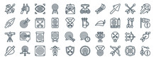 Linear Pack Of Archery Line Icons. Linear Vector Icons Set Such As Rifle, Binoculars, Quiver, Telescope, Arrow, Arrow. Vector Illustration.