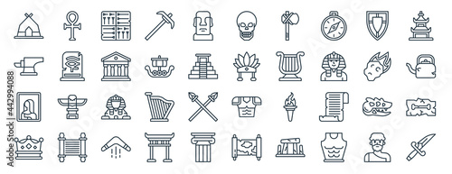 Fotografía linear pack of history line icons
