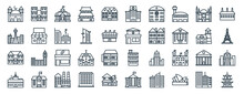 Linear Pack Of Building Line Icons. Linear Vector Icons Set Such As Building, Hospital, Clinic, Mansion, Radio Station, Pagoda. Vector Illustration.