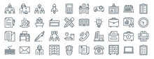 Linear Pack Of Office Line Icons. Linear Vector Icons Set Such As Working, Office, Book, Document, Keyboard, To Do List. Vector Illustration.