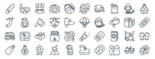 Linear Pack Of Adventure Line Icons. Linear Vector Icons Set Such As Diving Mask, Action Camera, Parachuting, Bus, Oxygen, Gps. Vector Illustration.