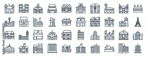 Photo linear pack of building line icons