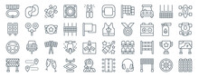 Linear Pack Of Racing Line Icons. Linear Vector Icons Set Such As Race Track, Race Track, Riding Gear, Steering Wheel, Road Block, Spot Lights. Vector Illustration.