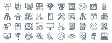 Linear Pack Of Content Creator Line Icons. Linear Vector Icons Set Such As External Hard Drive, Podcast, Working Tool, Microphone, Uhd, Laptop. Vector Illustration.