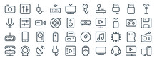 Linear Pack Of Media Line Icons. Linear Vector Icons Set Such As Mixer, Microphone, Projector, Keyboard, Server, Desktop Computer. Vector Illustration.