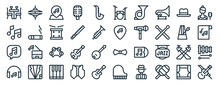 Linear Pack Of Jazz Music Line Icons. Linear Vector Icons Set Such As Hi Hat, Drum Set, Guitar Pick, Song, Headphone, Violin. Vector Illustration.