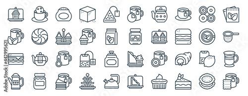 Fotografia, Obraz linear pack of afternoon tea line icons