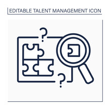 Skill Gap Analysis Line Icon. Research Lacks Skills And Knowledge. Talent Management Concept. Isolated Vector Illustration. Editable Stroke