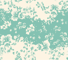 Delicate Floral Pattern With Drawn Elements And Watercolor Motifs, Perfect For Fabric And Decoration