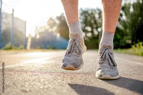 Man doing workout outdoors Fototapeta
