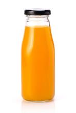 Orange Juice In Glass Bottle Isolated On White.