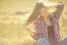 Beautiful Long Hair Brunette Field Summer Wind, Healthy Long Hair Beautiful Girl Nature