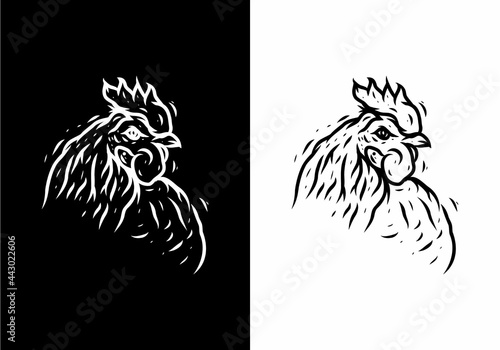 Canvastavla Black and white illustration drawing of rooster