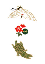 縁起物-鶴と亀のアイコン お正月のイラスト 健康長寿のシンボル