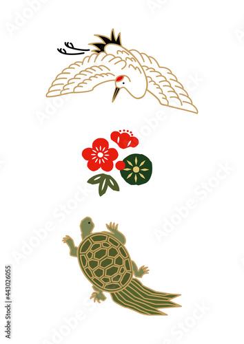 Slika na platnu 縁起物-鶴と亀のアイコン お正月のイラスト 健康長寿のシンボル