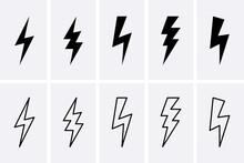 Lightning Bolt And Thunderbolts Icons Set