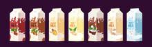 Set Vegan Milk In Paper Packages Boxes Organic Dairy Free Natural Raw Vegan Milk Healthy Cow Beverage Alternative Horizontal