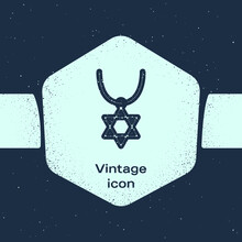 Grunge Line Star Of David Necklace On Chain Icon Isolated On Blue Background. Jewish Religion Symbol. Symbol Of Israel. Jewellery And Accessory. Monochrome Vintage Drawing. Vector