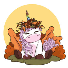 Hand Drawn Cute Autumn Unicorn Isolated On White Background. Design Element For Greeting Cards, T-shirt And Other