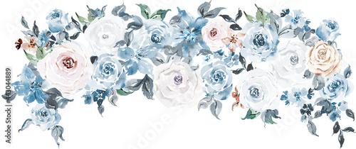 Obraz na plátně Dusty blue floral  clipart, Boho navy blue, cream and gold  bouquet watercolor,