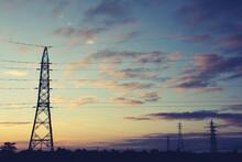 夕暮れと送電線1