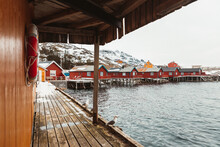 Wooden Quay With Seagulls On Winter Day